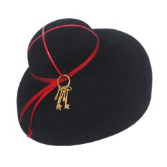 Adolfo Black Felt Hat w/keys