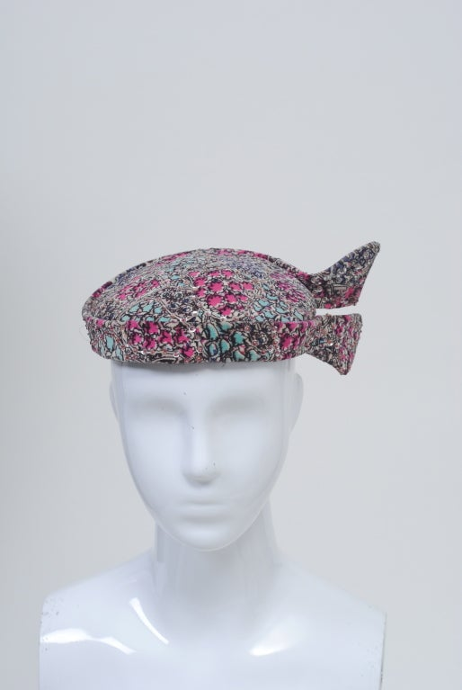 Gray Print Velvet hat with Sequins For Sale