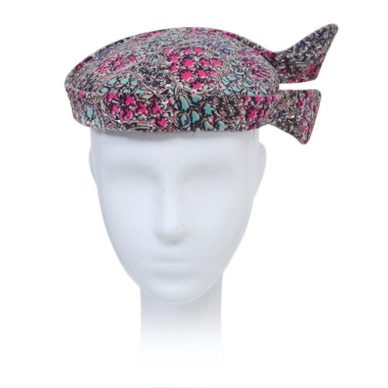 PRINT VELVET HAT W/SEQUINS For Sale