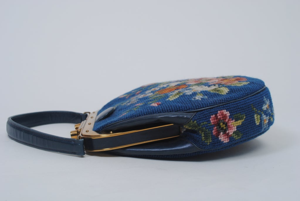 Women's BLUE NEEDLEPOINT HANDBAG W/RABBITS For Sale