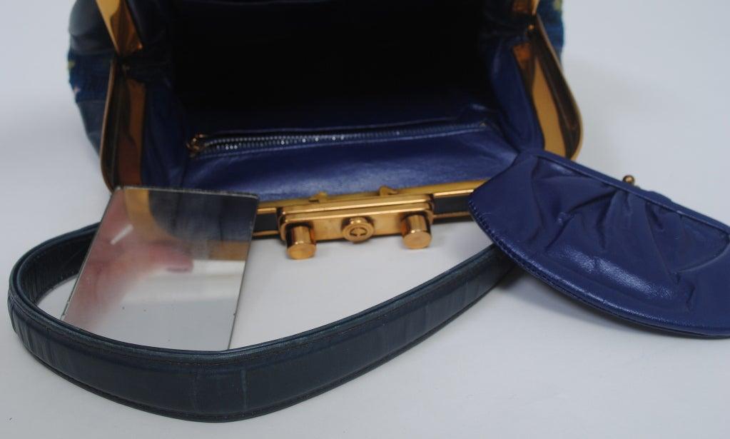 BLUE NEEDLEPOINT HANDBAG W/RABBITS For Sale 4