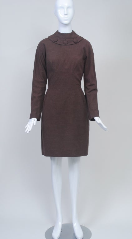 OLEG CASSINI BROWN WOOL JERSEY 1960S DRESS 3