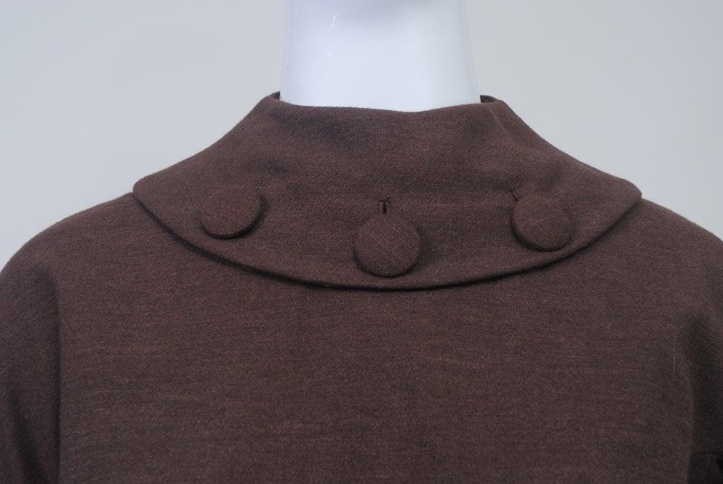 OLEG CASSINI BROWN WOOL JERSEY 1960S DRESS 4