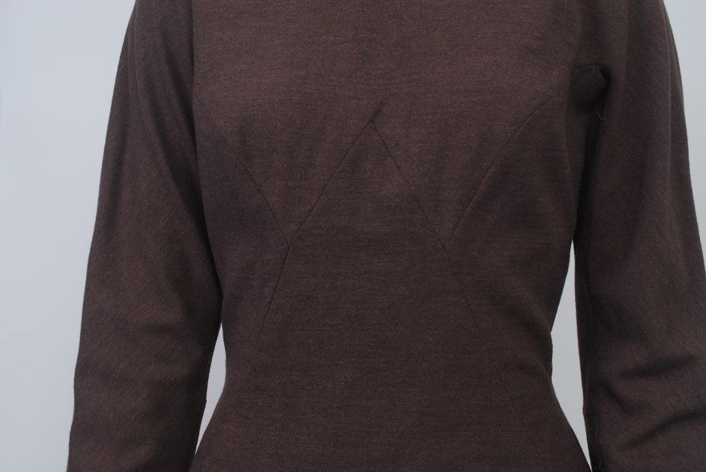 OLEG CASSINI BROWN WOOL JERSEY 1960S DRESS 5