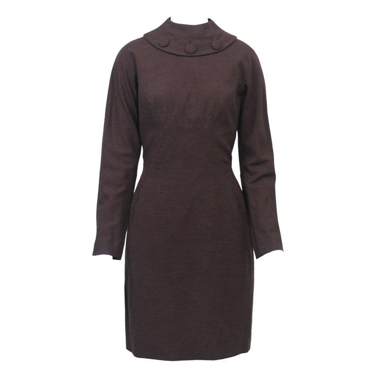 OLEG CASSINI BROWN WOOL JERSEY 1960S DRESS 1