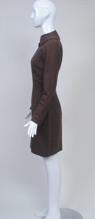 OLEG CASSINI BROWN WOOL JERSEY 1960S DRESS 6