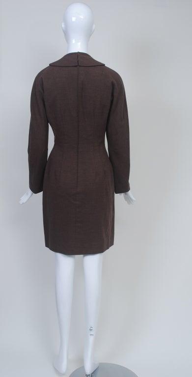 OLEG CASSINI BROWN WOOL JERSEY 1960S DRESS 7