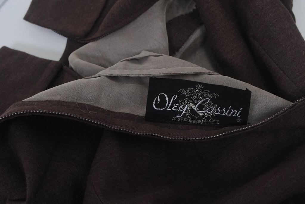 OLEG CASSINI BROWN WOOL JERSEY 1960S DRESS 9