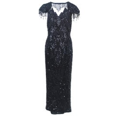 Black Sequined Gown with Fringe Detail