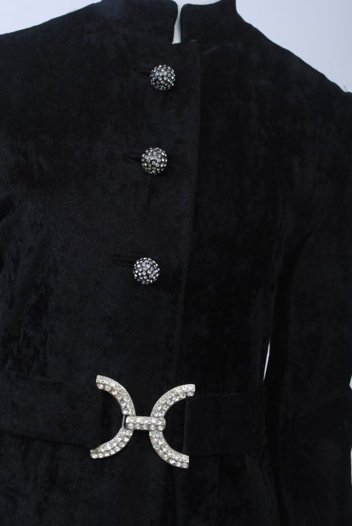 Black CRUSHED VELVET MAXI COAT WITH RHINESTONE TRIM For Sale