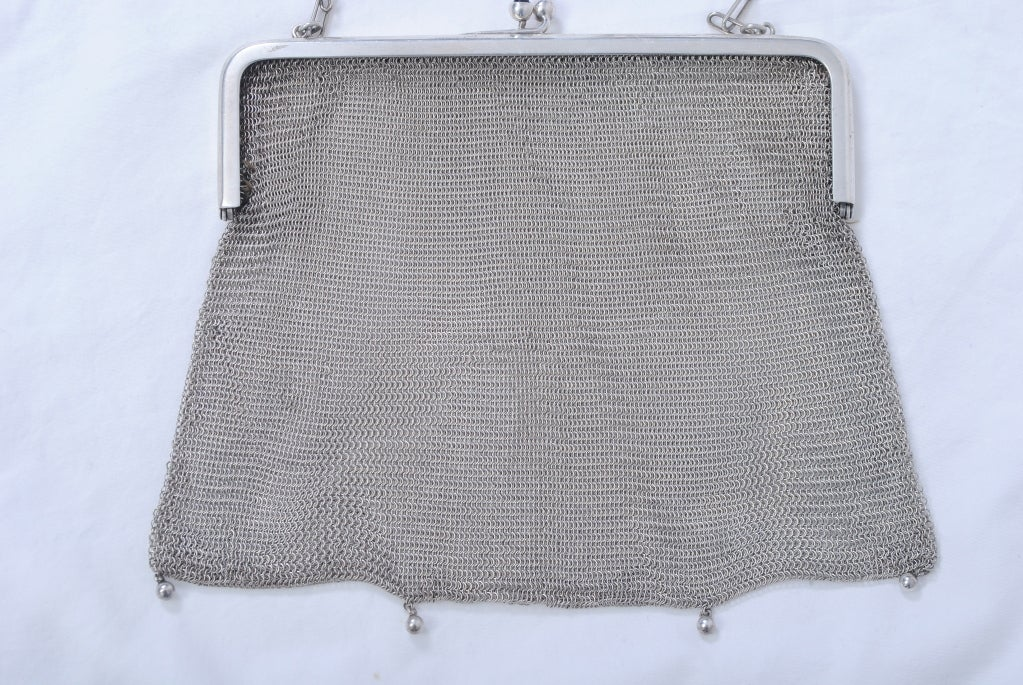 1920s Silverplate Chainmail Evening Bag image 4