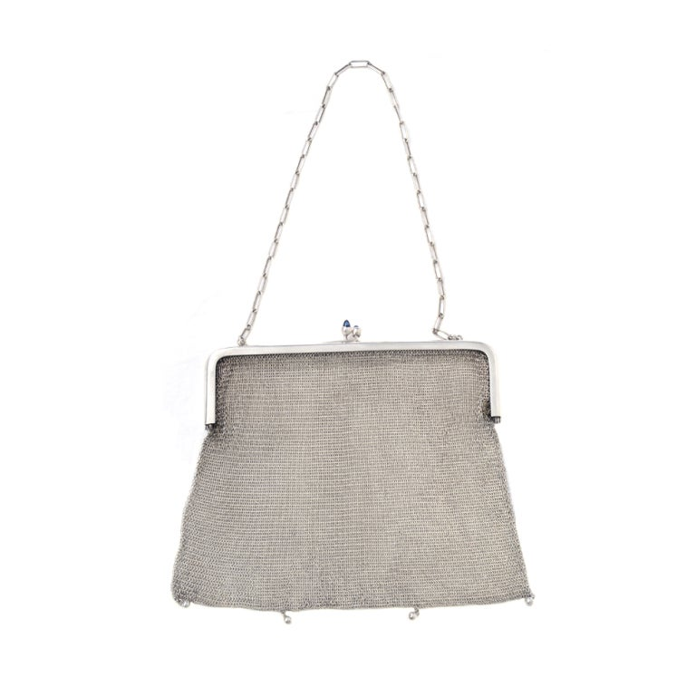 1920s Silverplate Chainmail Evening Bag