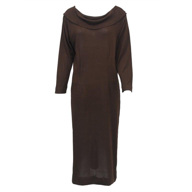BRIONI BROWN KNIT DRESS For Sale