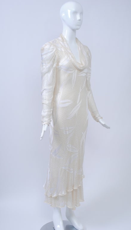 Gray JUDY HORNBY COUTURE WHITE-ON-WHITE BIAS GOWN For Sale