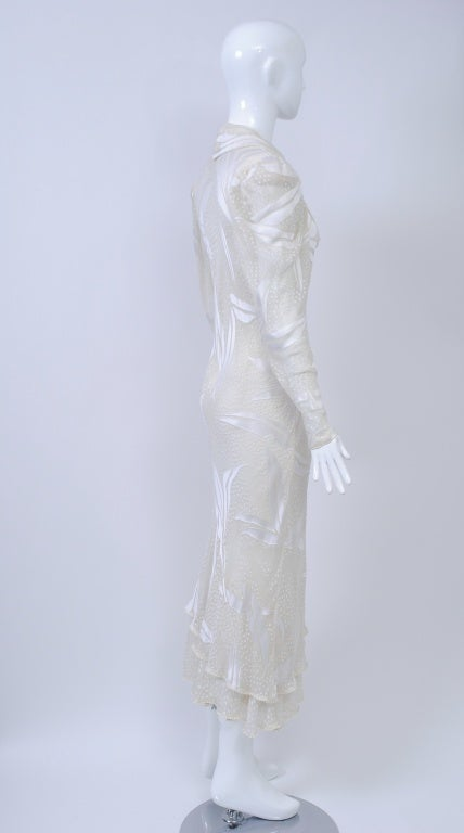 Women's JUDY HORNBY COUTURE WHITE-ON-WHITE BIAS GOWN For Sale