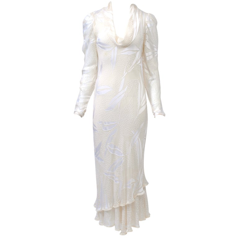 JUDY HORNBY COUTURE WHITE-ON-WHITE BIAS GOWN For Sale