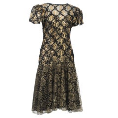 GEOFFREY BEENE BLACK/GOLD LACE DRESS