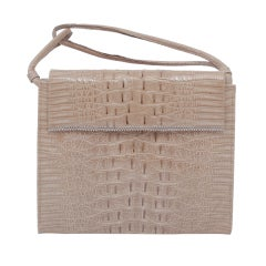 BEIGE ALLIGATOR HANDBAG WITH DOUBLE-LOOP HANDLE