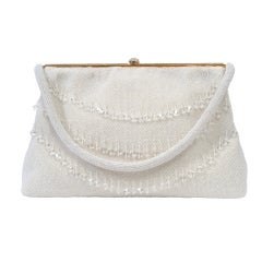 White Beaded Bag with Crystals, France