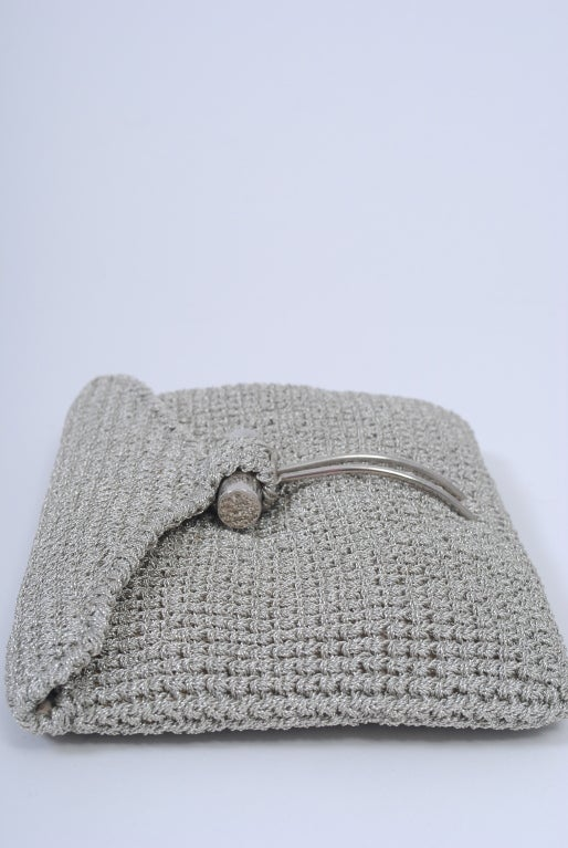 1stdibs Rodeo Metallic Silver Crochet Clutch ccnC7
