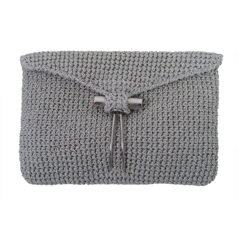 Rodeo Metallic Silver Crochet Clutch