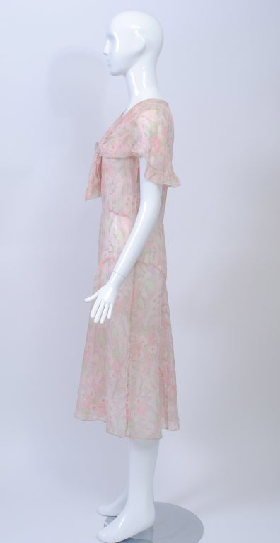 1930s Pastel Floral Print Day Dress In Excellent Condition For Sale In Alford, MA