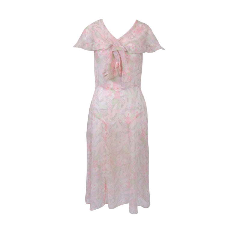 1930s Pastel Floral Print Day Dress