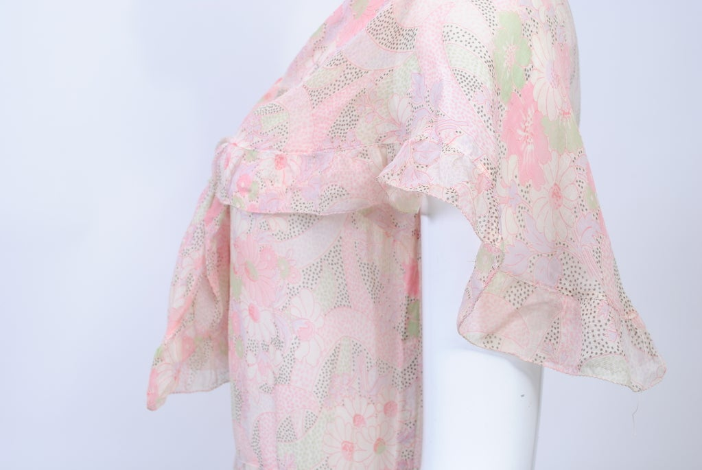 1930s Pastel Floral Print Day Dress For Sale 1