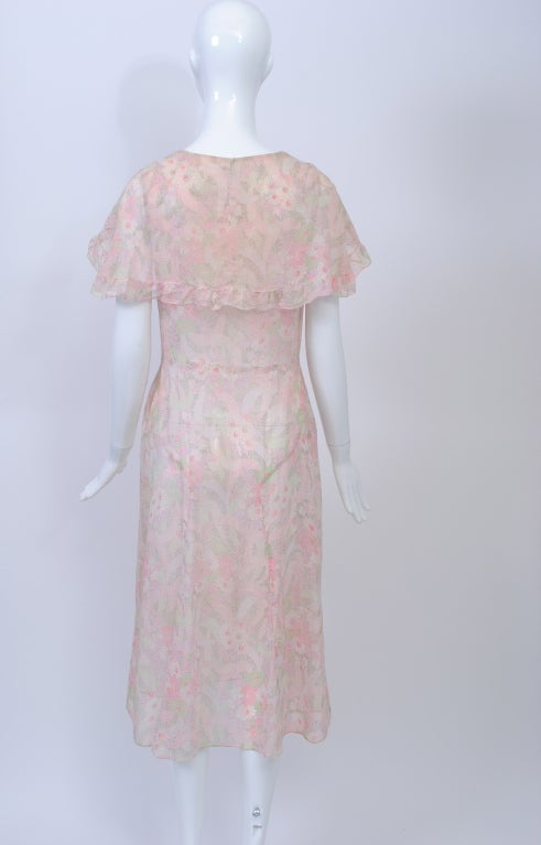 1930s Pastel Floral Print Day Dress 7