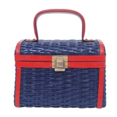NAVY WICKER BOX BAG WITH RED LEATHER TRIM