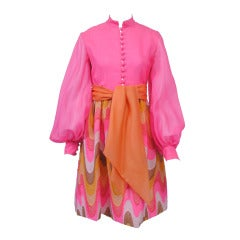 BILL BLASS NEON/FLAME STITCH DRESS