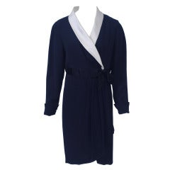 Chanel Navy Silk Wrap Dress