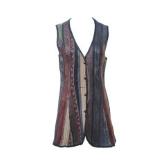 Cavalli Leather and Suede Striped Vest