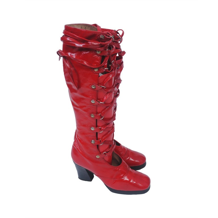 Red Patent 1970s Lace Up Platform Boots At 1stdibs