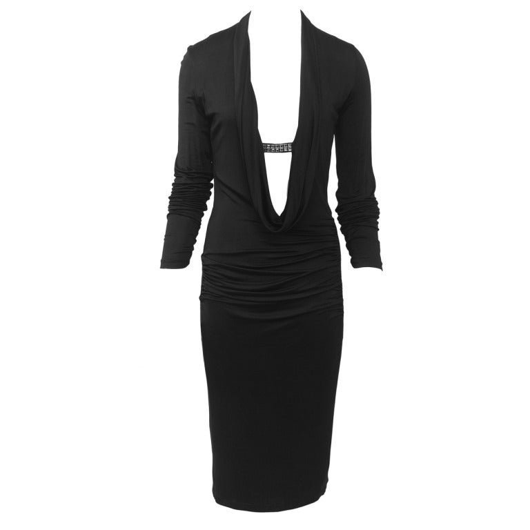 Ungaro Black Jersey Plunge Neckline Dress