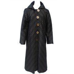 Pauline Trigère Black and Gold Coat - Large Size