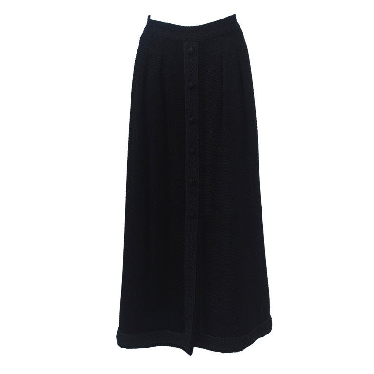 Chanel Long Black Chenille Skirt