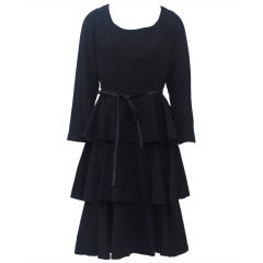 Black Wool 1960s Tiered Dress