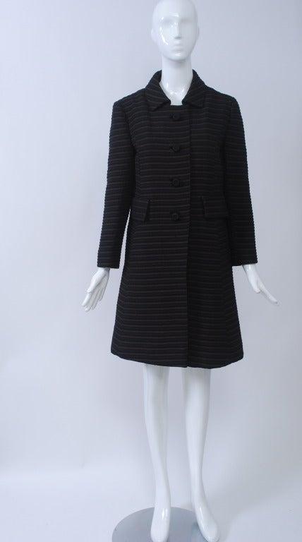 Pierre Cardin Black/Brown Ottoman Ribbed 1960s Coat 2