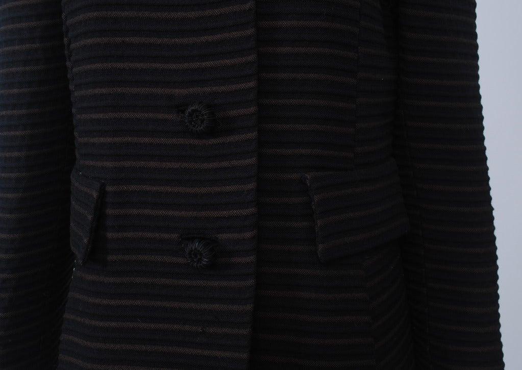 Pierre Cardin Black/Brown Ottoman Ribbed 1960s Coat 3