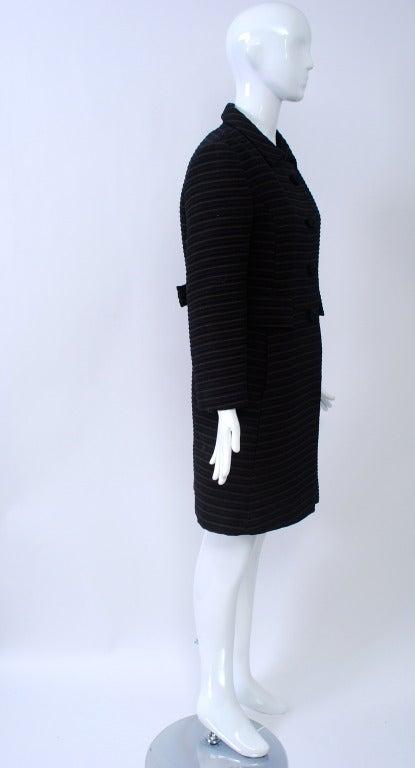 Pierre Cardin Black/Brown Ottoman Ribbed 1960s Coat 4