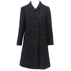 Pierre Cardin Black/Brown Ottoman Ribbed 1960s Coat