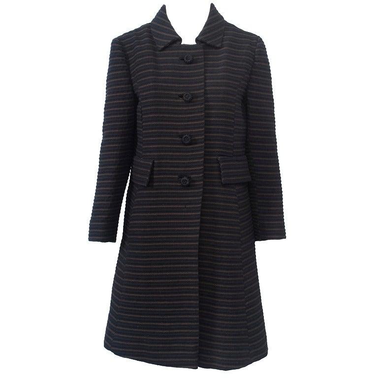 Pierre Cardin Black/Brown Ottoman Ribbed 1960s Coat 1