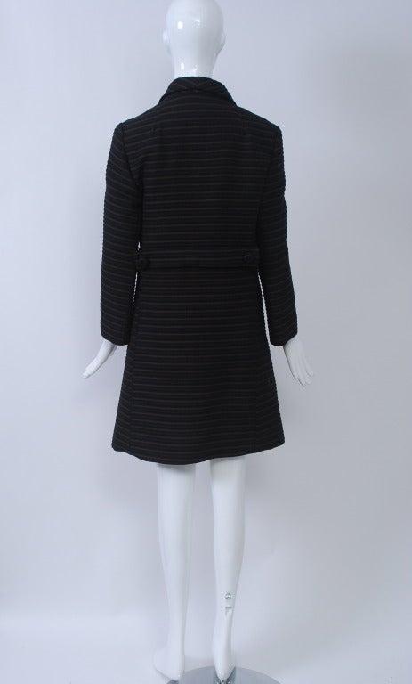 Pierre Cardin Black/Brown Ottoman Ribbed 1960s Coat 5