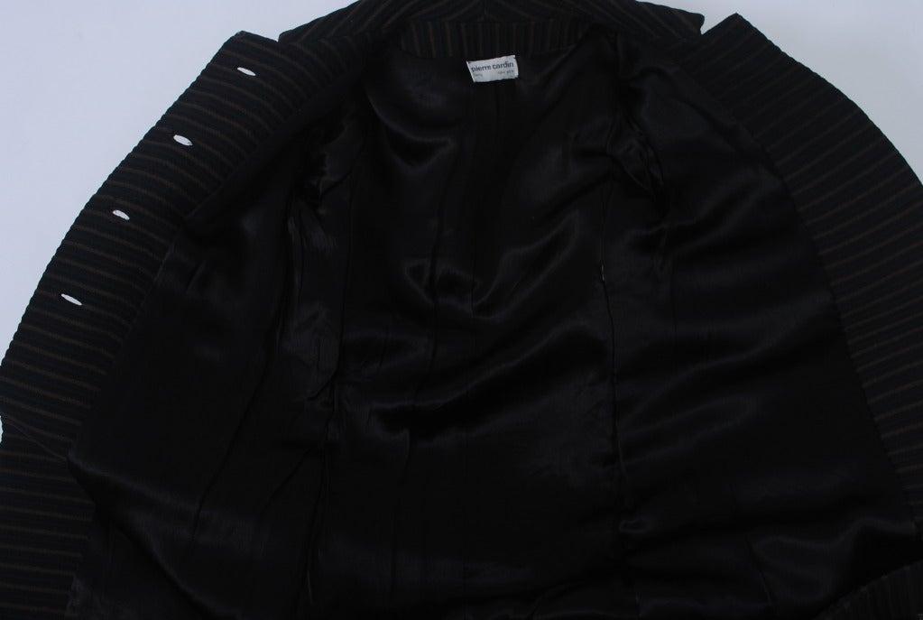 Pierre Cardin Black/Brown Ottoman Ribbed 1960s Coat 7
