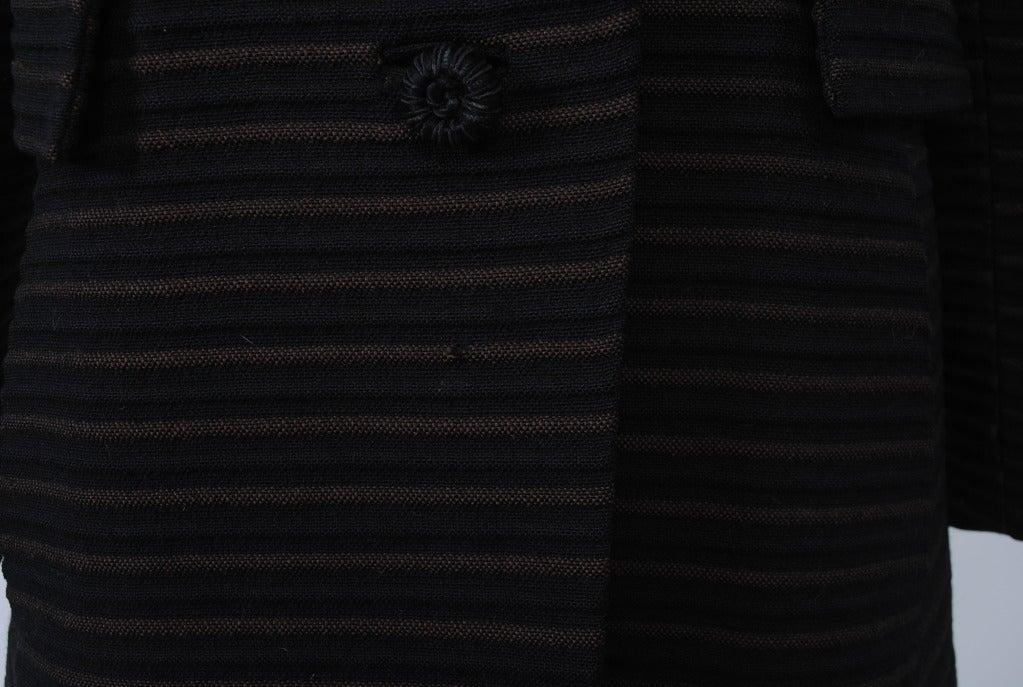 Pierre Cardin Black/Brown Ottoman Ribbed 1960s Coat 9