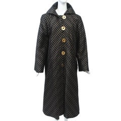 Pauline Trigère Black/Gold Swing Coat