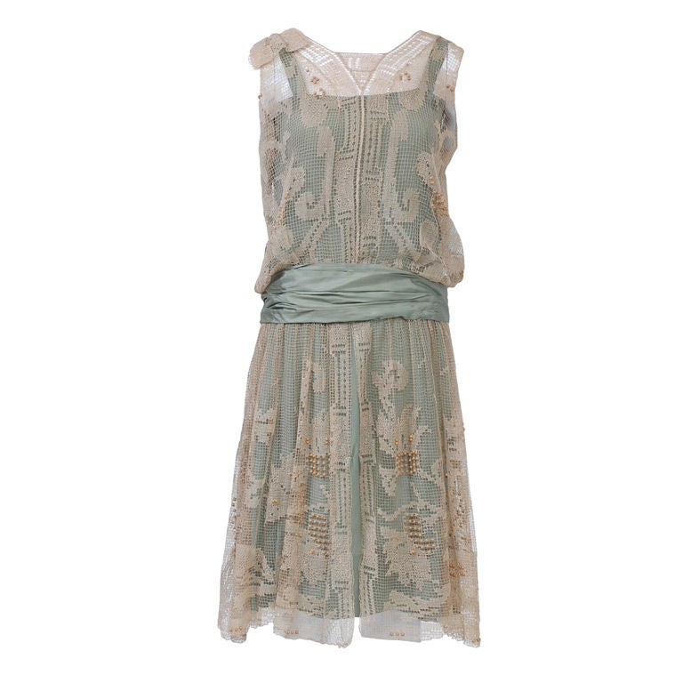1920s ECRU LACE DRESS