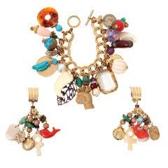 Larry Vrba Charm Bracelet and Earrings