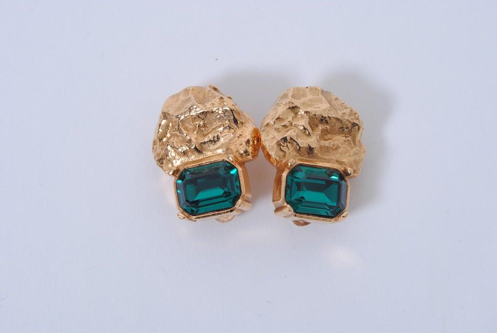 YSL Gold/Emerald Earrings 2